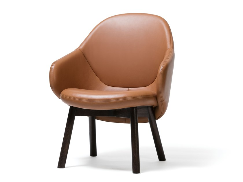 Leather easy chair with armrests ALBA LOUNGE   Leather easy chair by TON