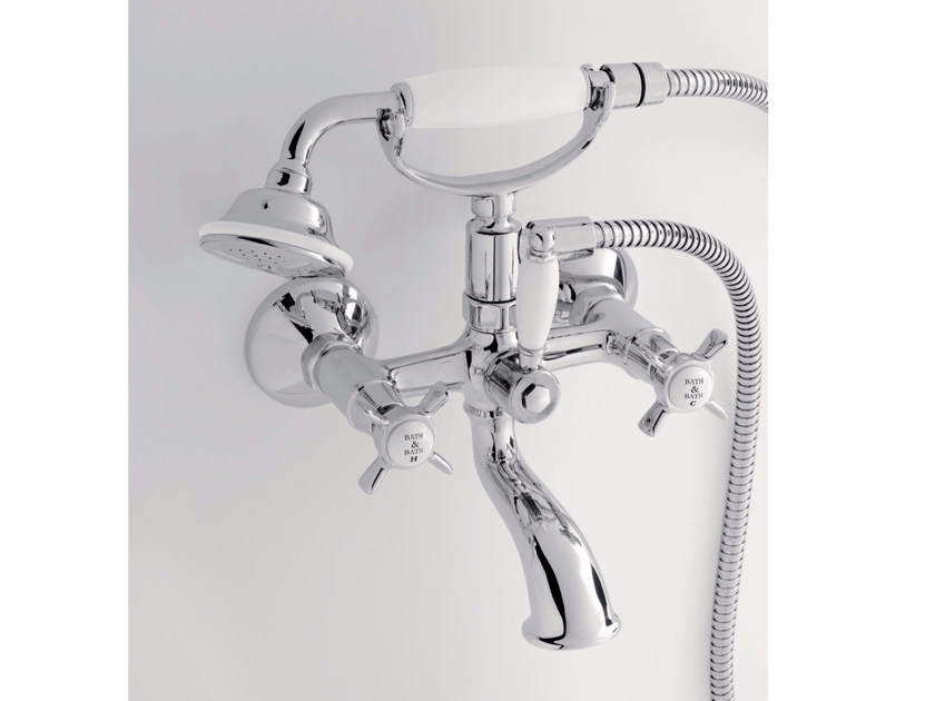 Wall-mounted bathtub tap with hand shower ALDEN | Wall-mounted bathtub tap - BATH&BATH