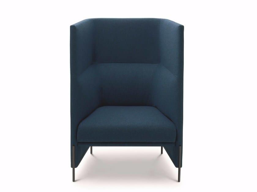 Upholstered high-back fabric armchair ALGON LOUNGE CHAIR - arflex