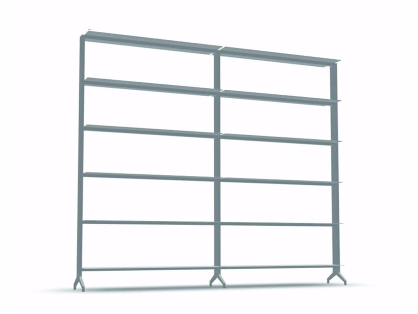 Open modular aluminium bookcase ALINE - J01 by Alias