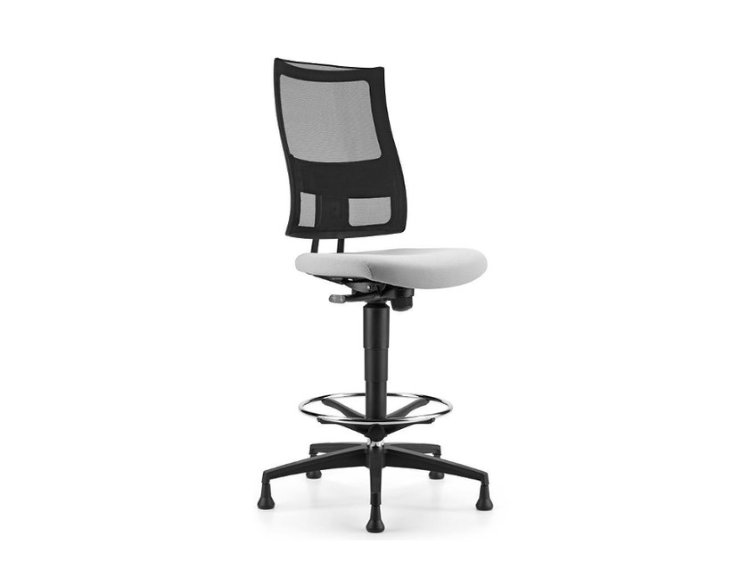 Height-adjustable mesh drafting stool with 5-Spoke base ALLYNET 1743 by TALIN