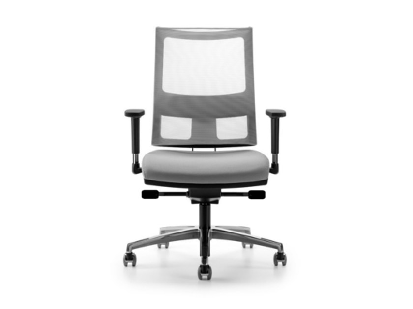 Mesh task chair with 5-Spoke base with armrests with casters ALLYNET 1777 - TALIN