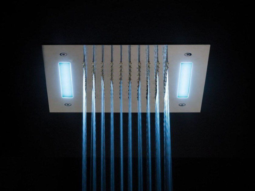 Ceiling mounted built-in steel overhead shower ALMENOINDUE CHROMOTHERAPY | Overhead shower for chromotherapy - RUBINETTERIE RITMONIO