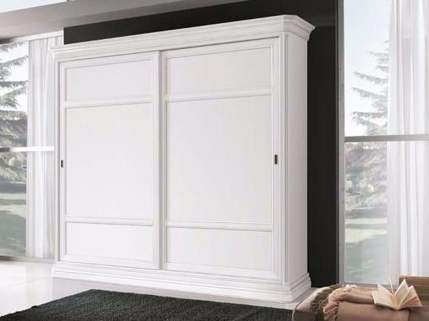 Solid wood wardrobe with sliding doors AMALFI | Lacquered wardrobe - Arvestyle