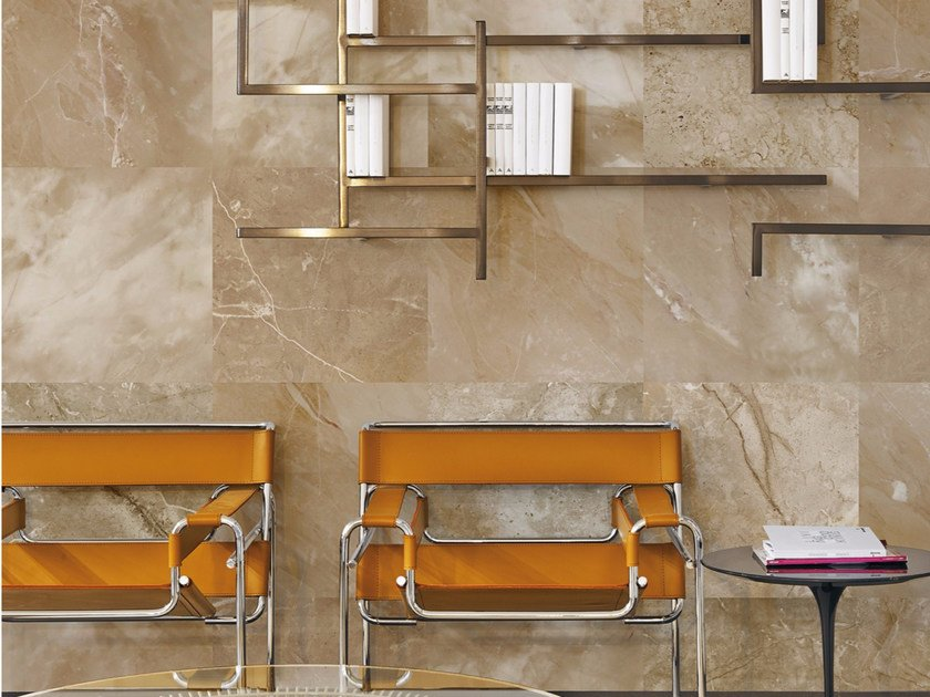 Panoramic wallpaper with marble effect AMARILLO - Inkiostro Bianco