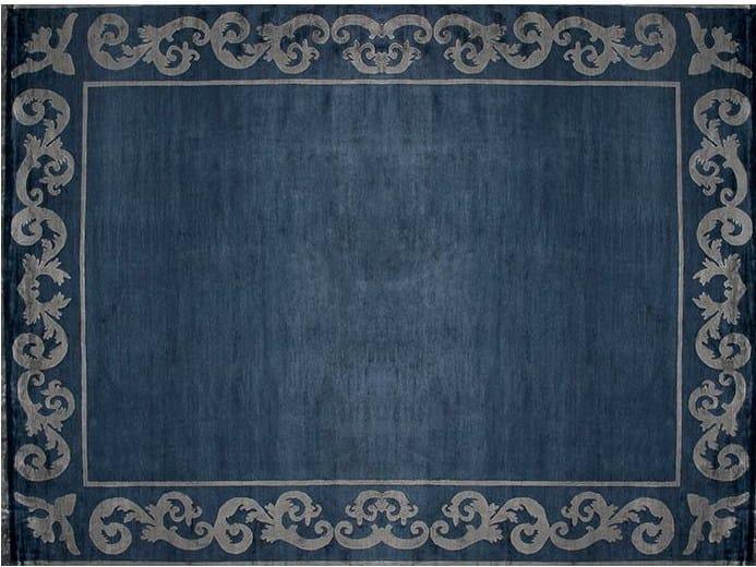 Handmade rectangular custom rug AMIRAL FRAME NAVY by EDITION BOUGAINVILLE
