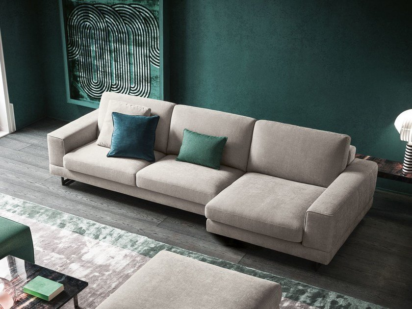 Fabric sofa with chaise longue ANGEL | Sofa with chaise longue by Felis