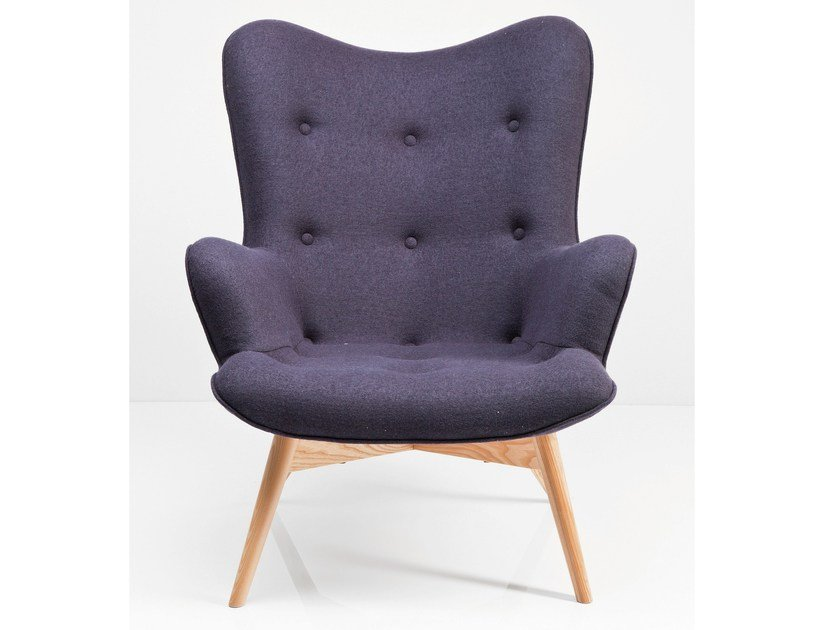 Contemporary style upholstered fabric armchair with armrests ANGELS WINGS DARK GREY - KARE-DESIGN