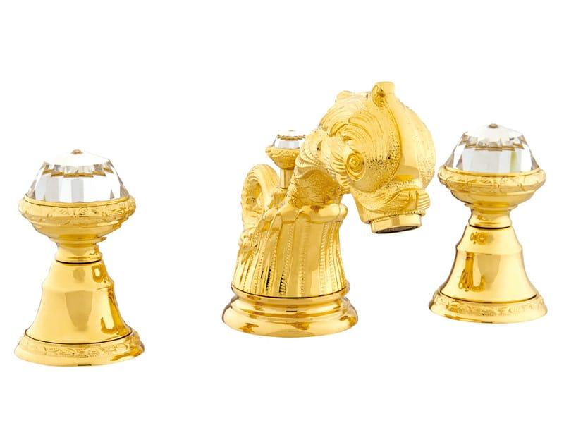 3 hole washbasin tap with Swarovski® crystals ANTARTICA | 3 hole washbasin tap by Bronces Mestre