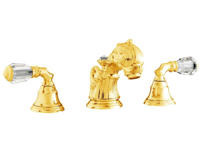 3 hole washbasin tap with Swarovski® crystals ANTARTICA   3 hole washbasin tap - Bronces Mestre