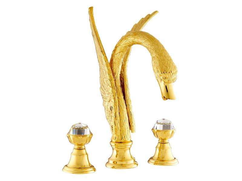 3 hole bathtub tap with Swarovski® crystals ANTARTICA SWAN | 3 hole bathtub tap - Bronces Mestre