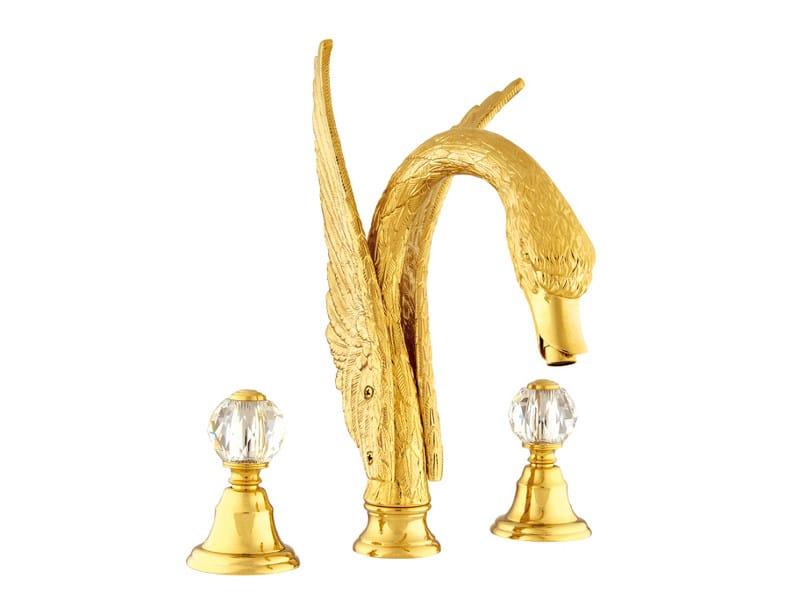 3 hole washbasin tap with Swarovski® crystals ANTARTICA SWAN | Washbasin tap with Swarovski® crystals - Bronces Mestre