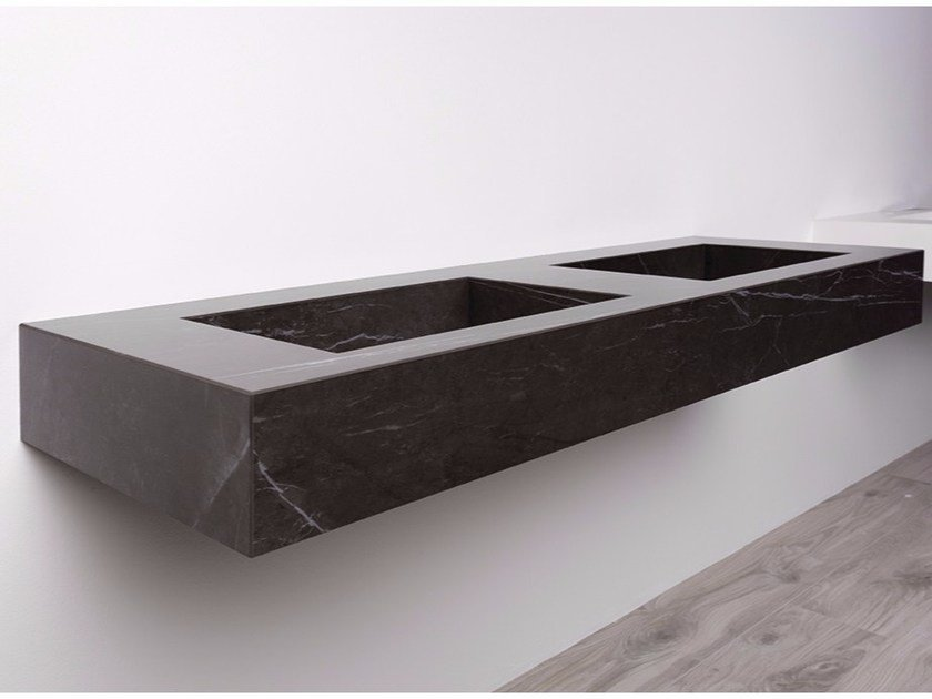 Double rectangular wall-mounted porcelain stoneware washbasin AQUA MAXIMUM | Double washbasin - GranitiFiandre