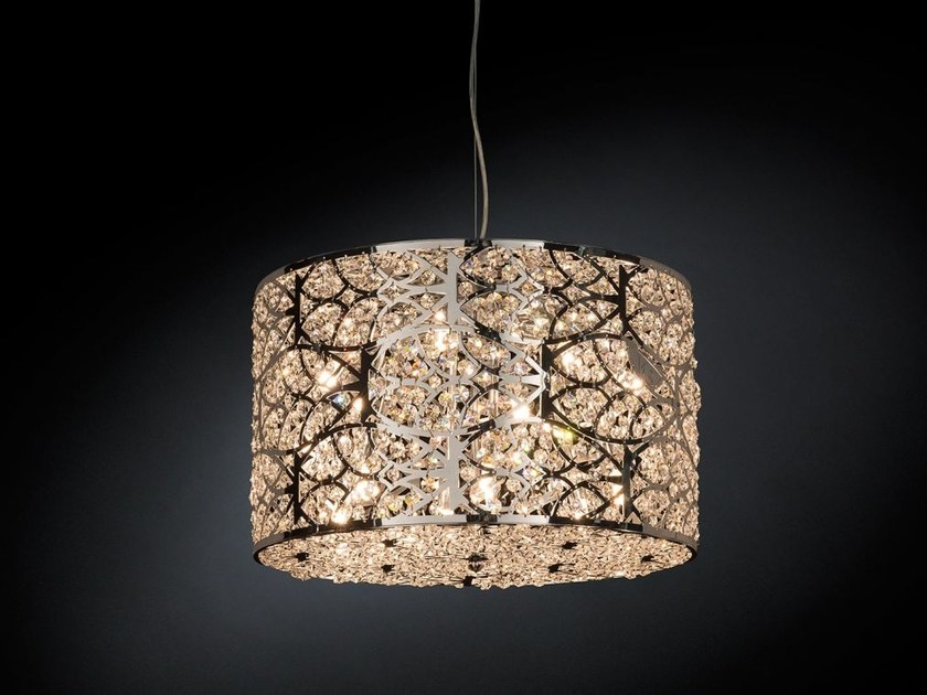 Steel pendant lamp with crystals ARABESQUE CILINDRO HORIZONTAL - VGnewtrend