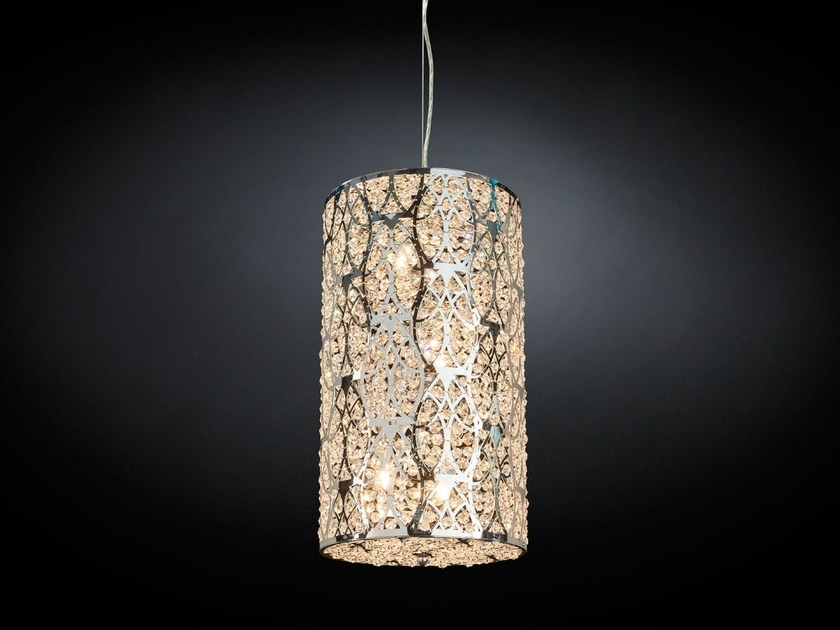 Steel pendant lamp with crystals ARABESQUE CILINDRO - VGnewtrend