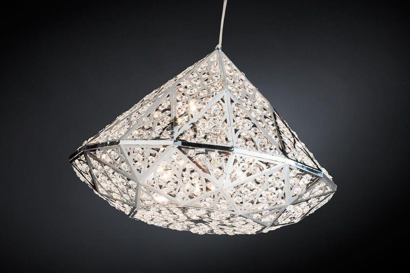 lampada a sospensione a led in acciaio con cristalli arabesque ... - Larabesque Lampade
