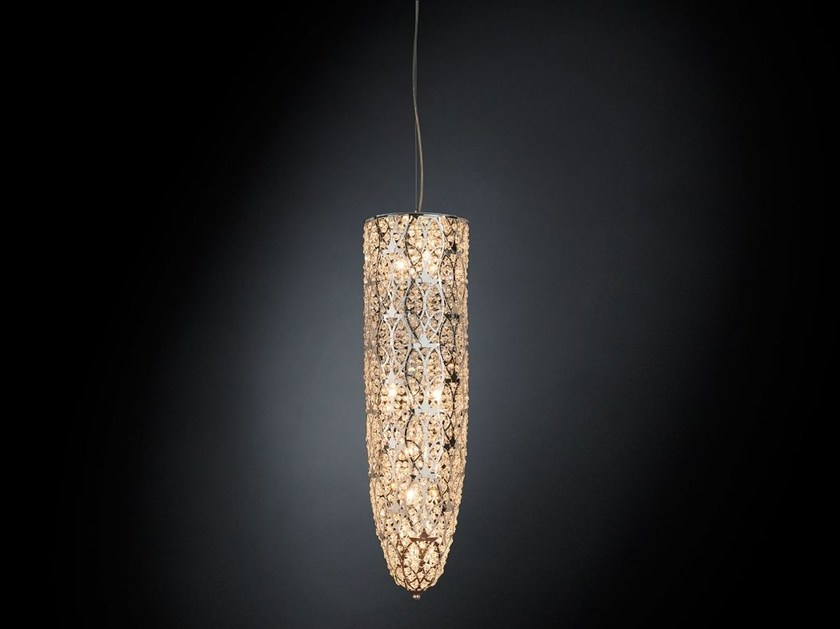 Steel pendant lamp with crystals ARABESQUE STALAGTITE - VGnewtrend
