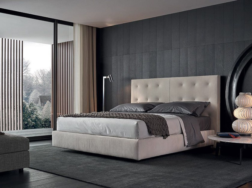 Fabric double bed with tufted headboard ARCA | Fabric bed - Poliform