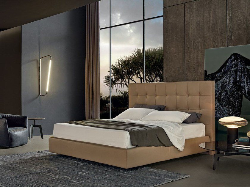 Leather double bed with tufted headboard ARCA | Leather bed - Poliform