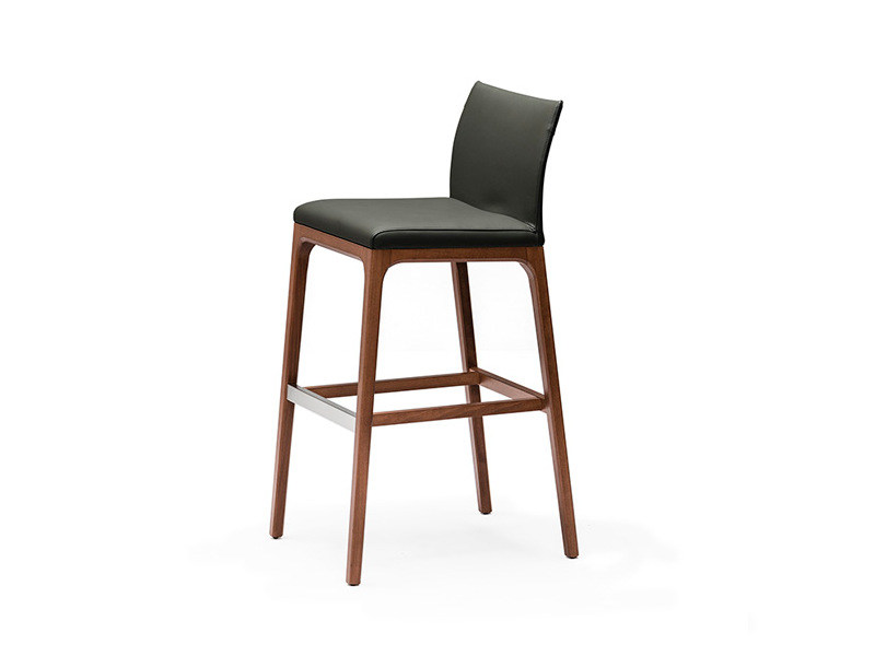 Leather counter stool with footrest ARCADIA - Cattelan Italia
