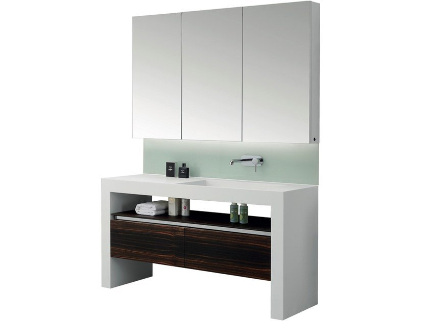 Single vanity unit with drawers with mirror ARCHE | Single vanity unit - International Swiss Concepts