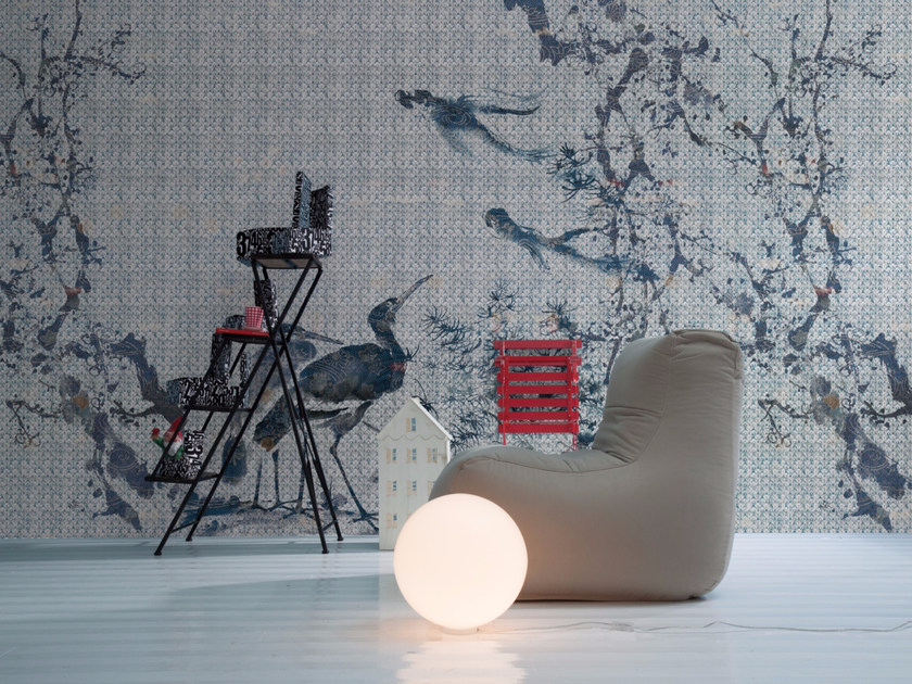 Panoramic wallpaper with floral pattern ARDEIDA - Inkiostro Bianco
