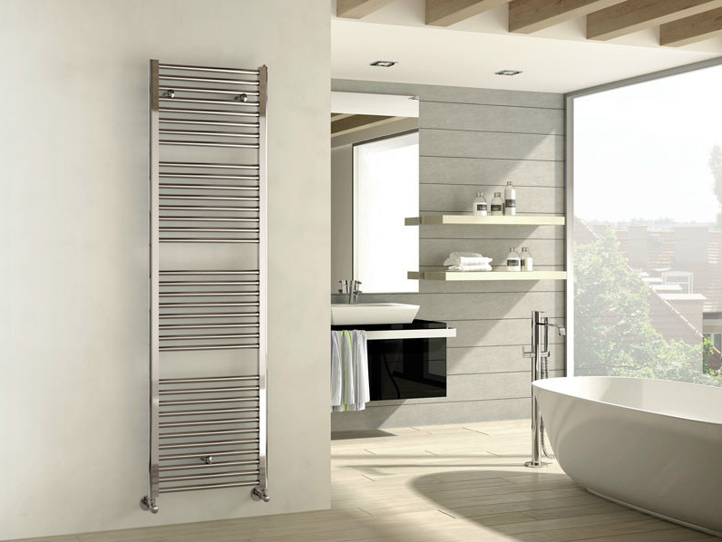 Chrome wall-mounted chrome plated steel decorative radiator ARES | Chrome decorative radiator by IRSAP