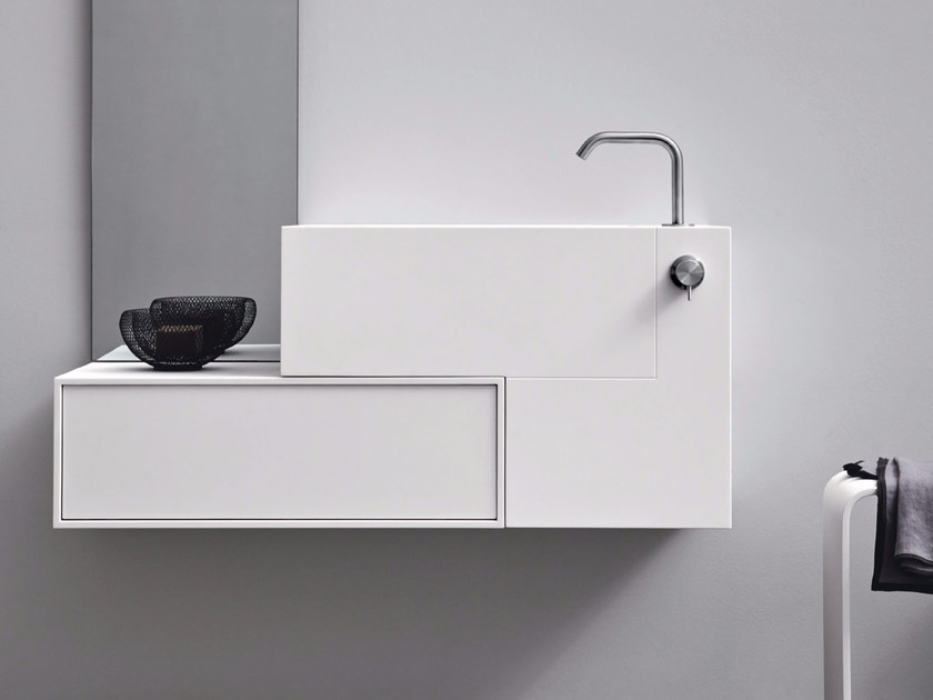 Rectangular wall-mounted Corian® washbasin with drawers ARGO UNICO | Wall-mounted washbasin by Rexa Design