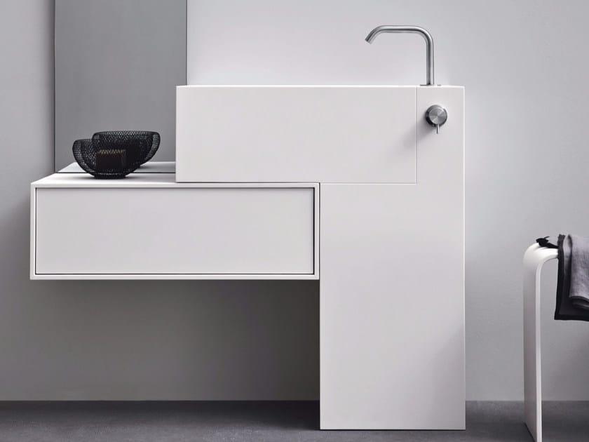 Rectangular Corian® washbasin with drawers ARGO UNICO   Washbasin by Rexa Design