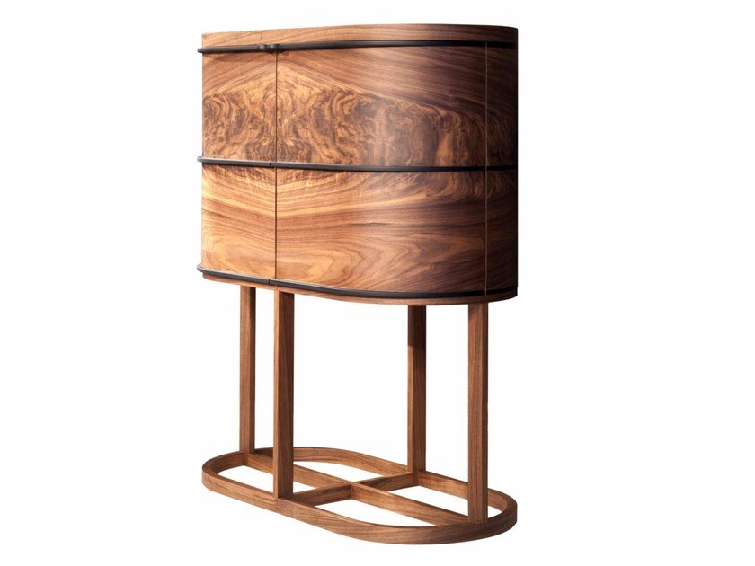 Wood veneer bar cabinet with integrated lighting ARIA   Bar cabinet by Mobi