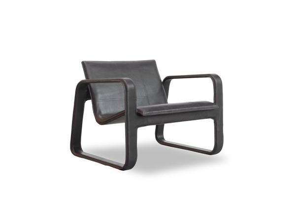 Tanned leather armchair with armrests NUBI | Armchair - BAXTER