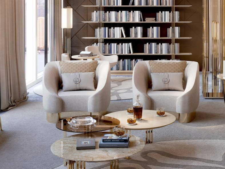 Fabric armchair with armrests SYMPHONY - INFINITY | Armchair by Bizzotto