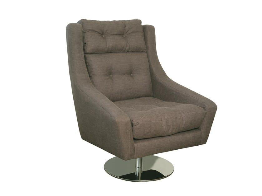 Swivel fabric armchair with armrests ÉVORA | Armchair - Branco sobre Branco