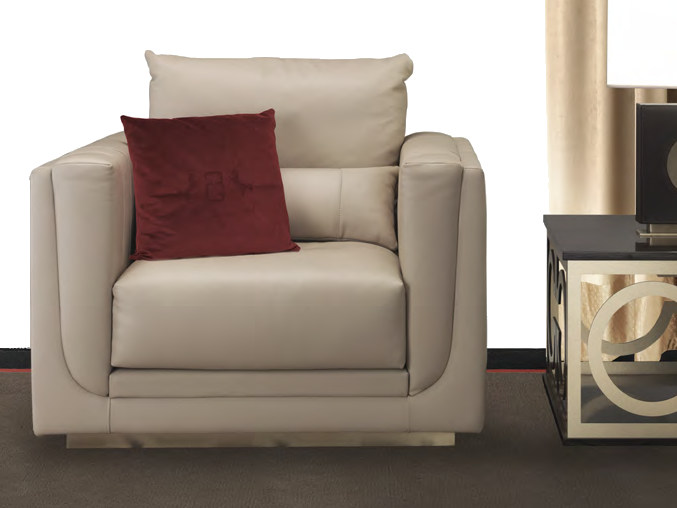 Upholstered leather armchair with armrests EMMA | Armchair - Formitalia Group