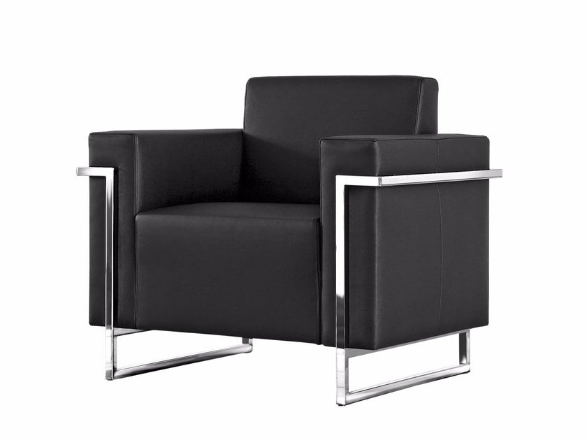 Sled base upholstered armchair with armrests MEMORIA | Armchair - Luxy