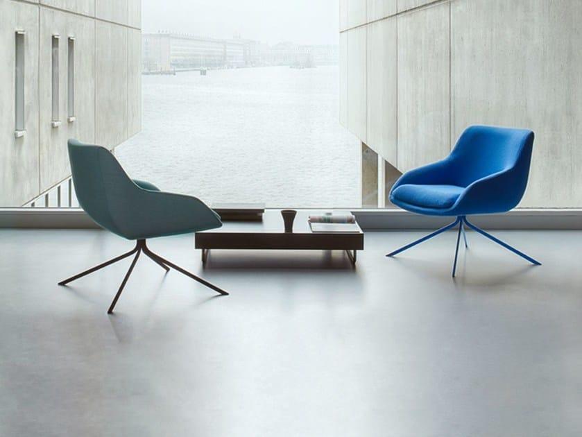 Fabric armchair with armrests BLUE | Armchair - Palau