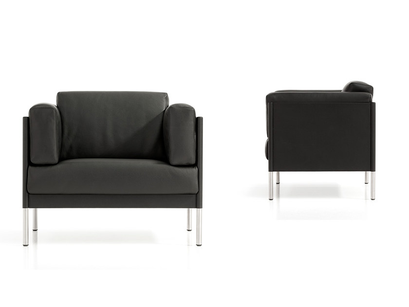 Leather armchair with armrests QUADRA | Armchair by Polflex