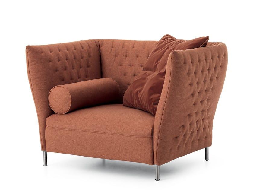 Upholstered fabric armchair QUILT | Armchair by Saba Italia