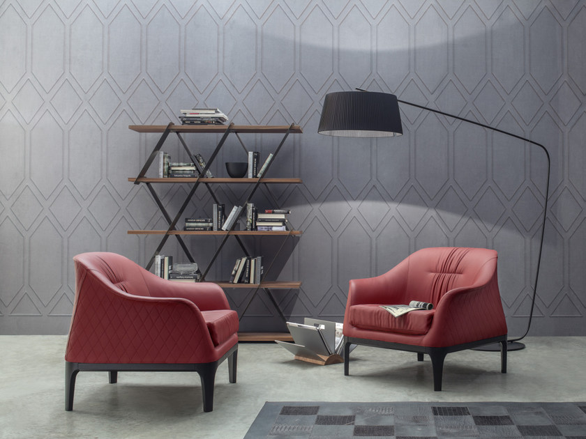Upholstered leather armchair with armrests TIFFANY | Armchair by Tonin Casa