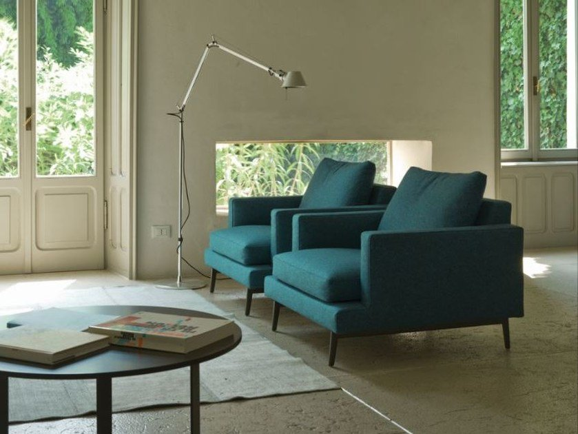 Fabric armchair with removable cover with armrests LARSEN   Armchair by Verzelloni