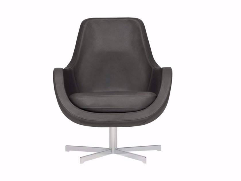 Upholstered leather armchair with 4-spoke base with armrests STEFANI | Armchair with 4-spoke base - SITS