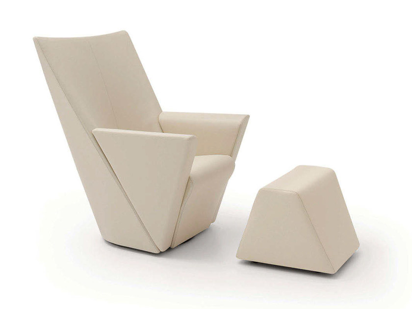 Swivel upholstered leather armchair with armrests ARMILLA   Leather armchair - arflex