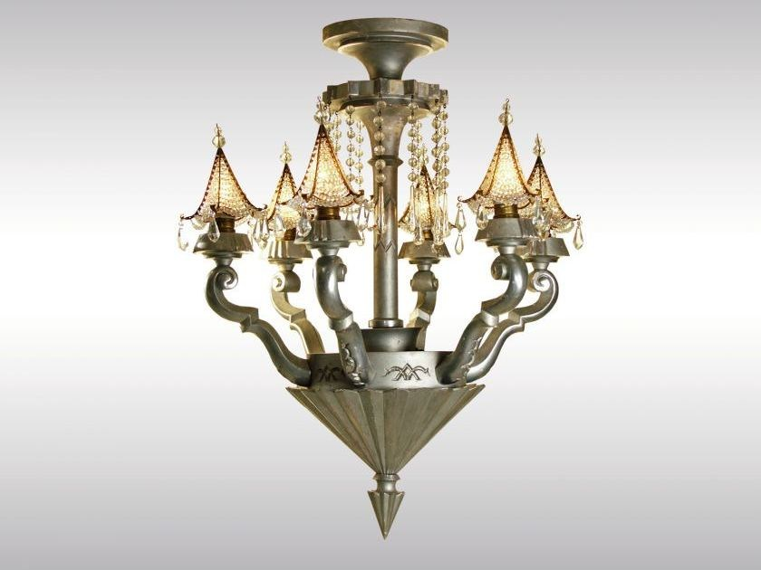 Classic style wooden chandelier ART DECO LUSTER 1920 - Woka Lamps Vienna