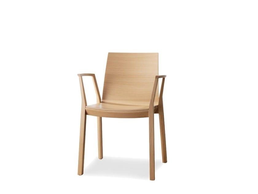 Sedia impilabile in compensato con braccioli ARTA | Sedia con braccioli - Wiesner-Hager