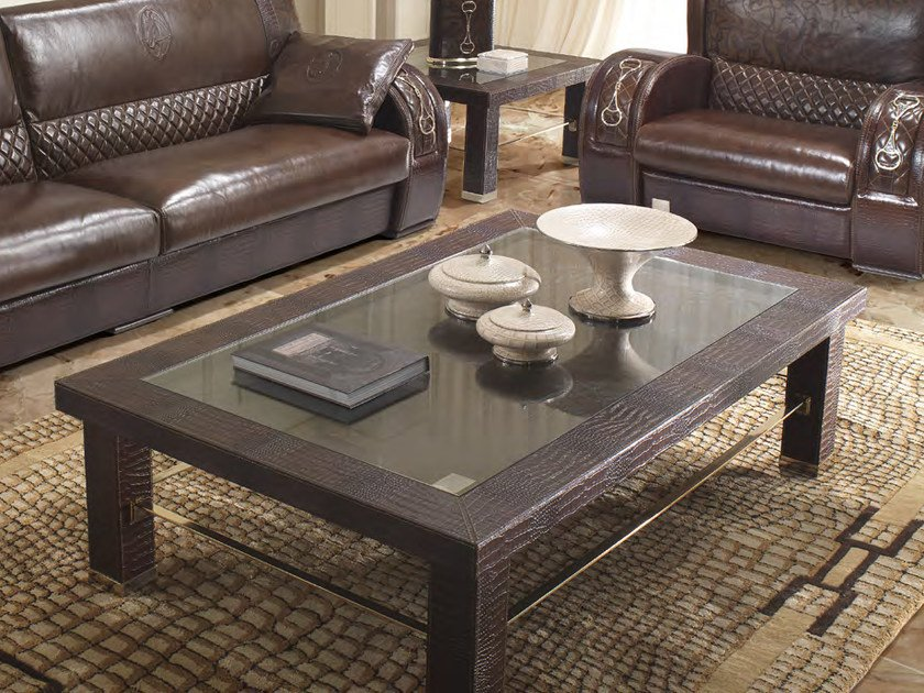 Low rectangular leather coffee table for living room ASCOT ONE 911 | Rectangular coffee table - Formitalia Group