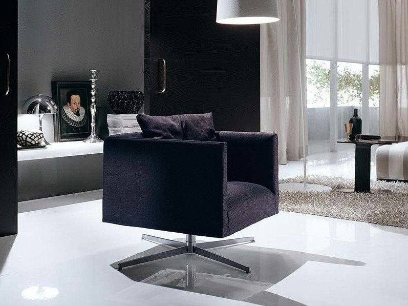 Fabric armchair with 4-spoke base with armrests ASIA SOFT LIGHT by Frigerio Salotti