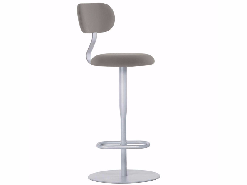 Swivel fabric counter stool with footrest ATLAS STOOL - 762 | Fabric chair - Alias