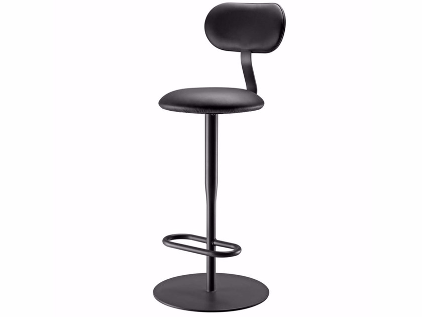 Swivel leather counter stool with footrest ATLAS STOOL - 762 | Leather chair - Alias