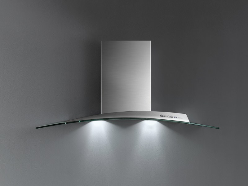 Glass and Stainless Steel island hood ATLAS VETRO by Falmec