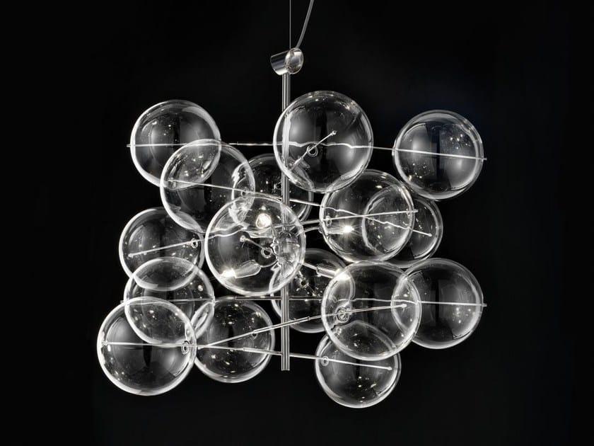 Lampada a sospensione in cristallo ATOM Ø 60 - Metal Lux di Baccega R. & C.